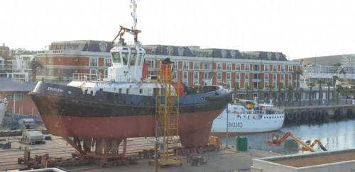 Ship being repaired at the drydock